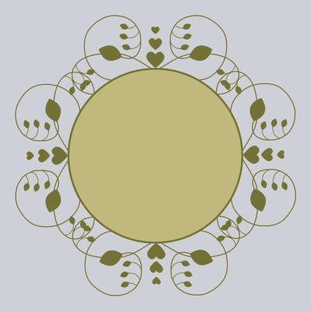 Vector label, greeting card decorated with a border of scrollwork with leaves and hearts with blank space for photo or text
