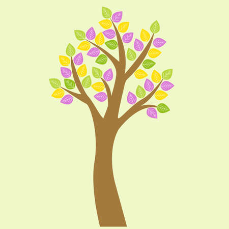 lush foliage: Vector tree. Tree with lush foliage and colorful leaves. Illustration