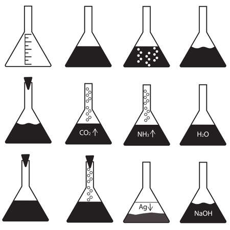 precipitate: Vector set of conical flasks with different contents could be in black and white on isolated background