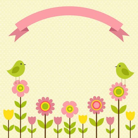 Vector postcard frame on the spring-summer theme. Birds among colorful flowers. Illustration