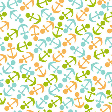 Vector seamless pattern on the marine theme. Colorful anchors located in a chaotic manner.