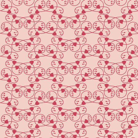 branching: Vector seamless pattern, a pattern of interwoven stems with leaves and flowers in pink tones