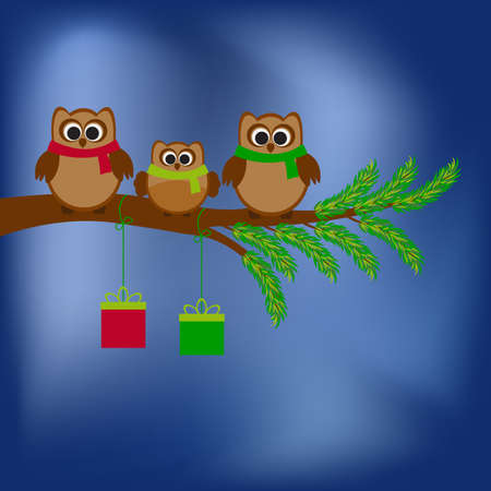 ilustration: Vector card with Christmas theme. A family of owls sitting on the branch of a tree. Against the snowy sky.