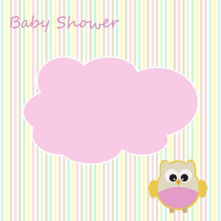 Vector greeting card on the theme of the baby shower. There's space for photo or text.