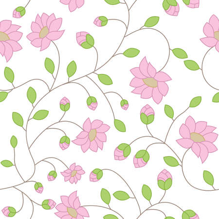 branching: Vector seamless texture of delicate pink flowers with green leaves and branching stems on a white background