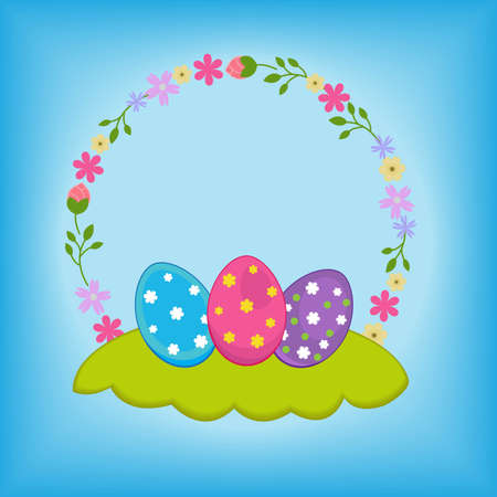 Vector composition on the theme of the celebration of Easter, spring meadow with Easter eggs and flowers