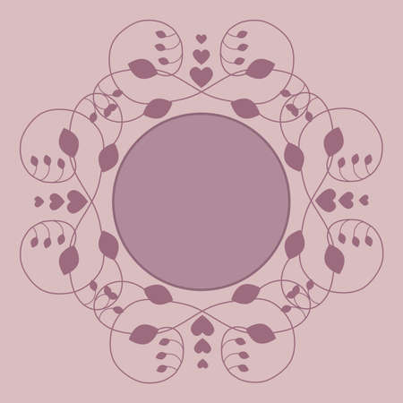 scrollwork: Vector label, greeting card decorated with a border of scrollwork with leaves and hearts with blank space for photo or text
