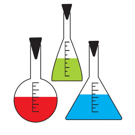 test results: Vector set of flasks for chemical laboratory with the contents of various colors and capped on a white background Illustration