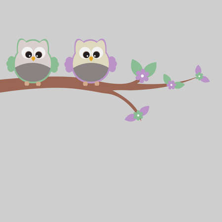 flowered: Vector frame, card with a romantic theme. Owl sitting on flowered tree. Illustration