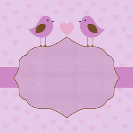 label frame: Vector, label, frame in gentle purple tones with birds on Valentines day