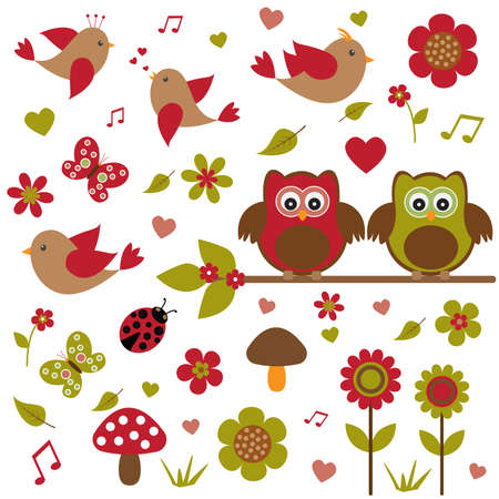 Vector set for summer theme. Owls sitting on a branch, among other birds, insects and plants. Vektorové ilustrace
