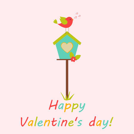 Vector greeting card on the theme of Valentines day celebrations. Love the bird sitting on the birdhouse. There is a congratulatory inscription. Illustration