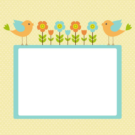spring bed: Vector postcard frame on the spring-summer theme. The singing birds among the flowers. Theres space for photo or text.