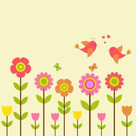 cute cartoon kids: Vector postcard frame on the spring-summer theme. Love birds among colorful flowers.