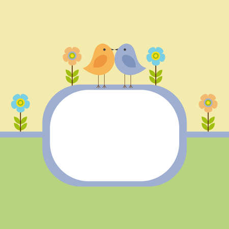 Vector postcard frame nature. Lovers birds among the flowers. Illustration