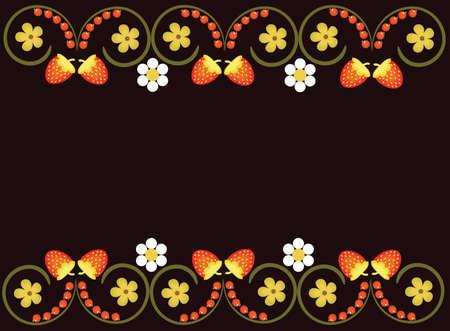 Vector illustration. Frame in folk style khokhloma on brown, dark background