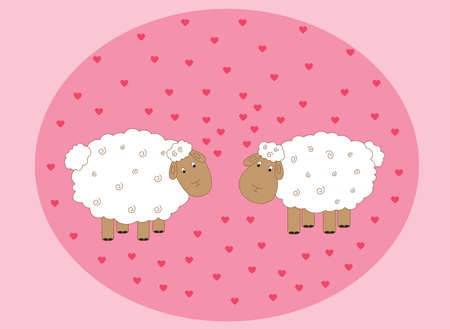 Vector illustration on the theme of Valentines day. Love the sheep amongst the many nanom hearts on a pink background Illustration