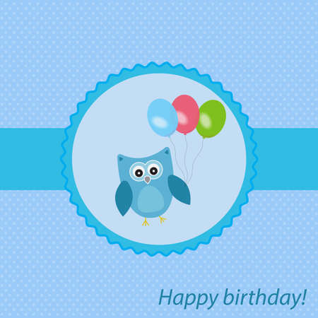 Vector frame, card holiday topic. The owl is decorated with balloons. In blue color, for boy.