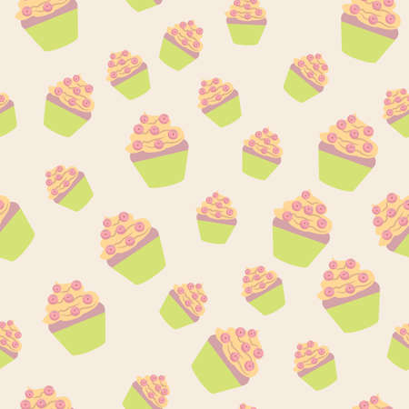 units: Vector seamless texture units of cakes delicate shades Illustration