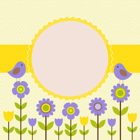Vector postcard frame on the spring-summer theme. The singing birds among the flowers. Theres space for photo or text.