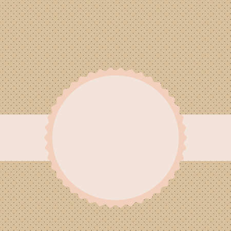 Vector label on the background pattern in the small peas in beige tones