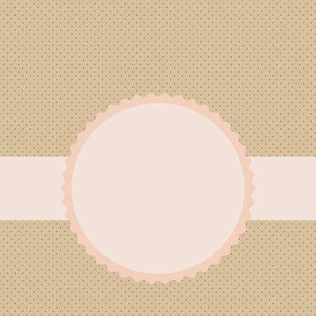 Vector label sur le motif de fond dans les petits pois dans les tons beige