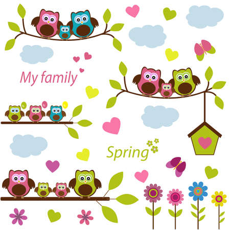triplets: Vector set. A family of owls on a spring theme, decorated in bright spring colors. Illustration