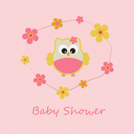 Vector greeting card on the topic of children. Baby shower. Little girl owl in the flowers. Illustration
