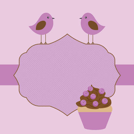 Vector postcard frame decorated in a candy theme in purple shades Illustration