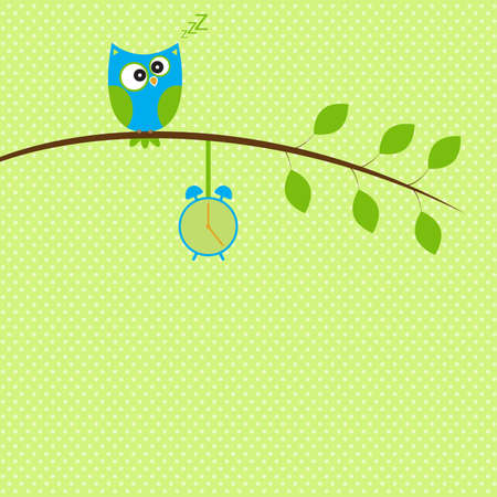 Vector illustration, sleepy owl perched on a branch with alarm