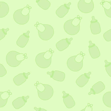 Vector seamless texture with childrens bottles and bibs light green color for boy or girl