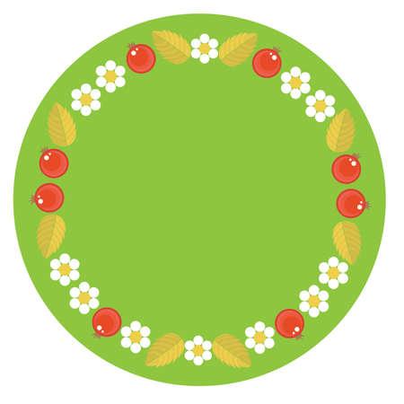 Vector illustration. Frame in folk style khokhloma for decoration of dishes, cardboard trays