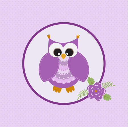 Vector greeting card with bird. Cute owl with flowers on the background of the points made in purple shades. Illustration