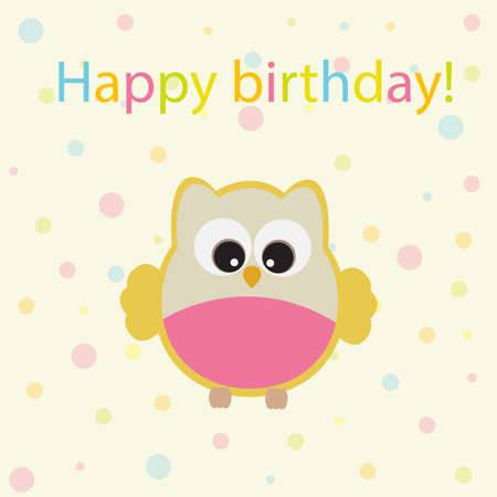 green day baby blue background: Vector greeting card on the theme of the birthday celebration. Cute owl on a delicate background of soap bubbles.