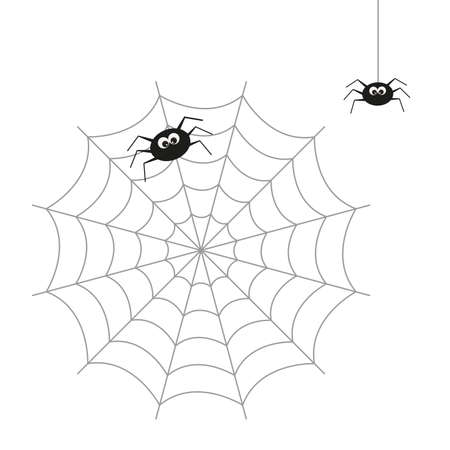 Vector illustration on the theme of insects. Spider sitting on the web and coming down on the web. Illustration