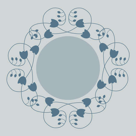 branching: Vector, label, frame decorated woven pattern of sprigs with petals and flowers of blue color with free space for text or photo