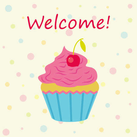 patisserie: Vector card with cake shop topic. Cake with cherries and inscription.