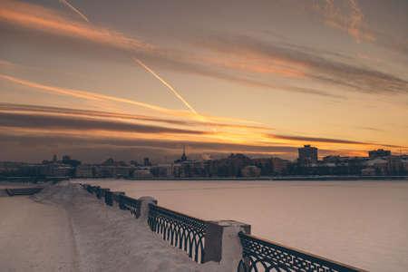 horizontal panorama of the night winter city Stock Photo