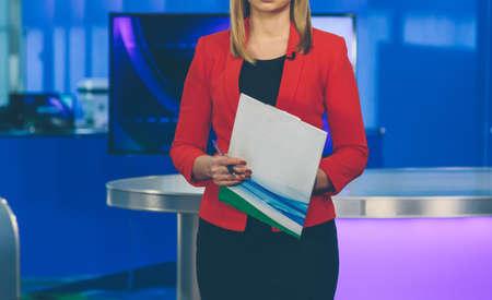 information medium: TV presenter preparing to live streaming video Stock Photo