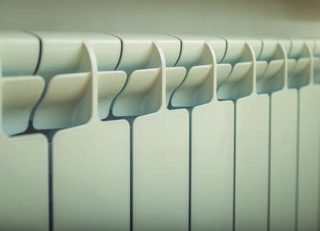 hot water pipe and radiator close up Stock Photo
