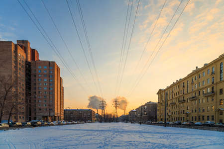 the high-voltage line in the winter city