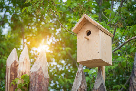 front view wooden nesting box close up Stock Photo