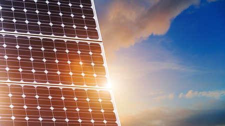 solar panels close up on sky background