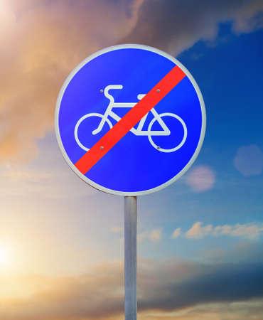 bike path sign close up on sky background