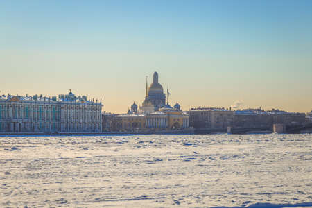 St. Isaacs Cathedral in St. Petersburg in winter Stock Photo