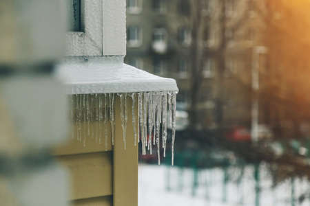 icicles on the facade of a close-up