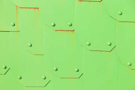 the old iron green gate close up Stock Photo