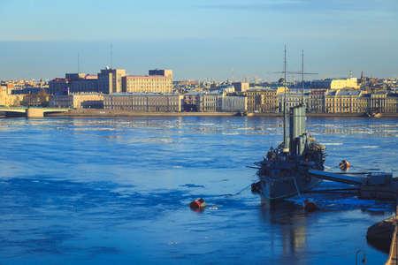 Panorama of the cruiser Aurora and river Neva in St. Petersburg