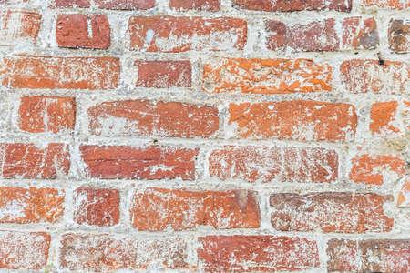 Texture of old brick wall close up