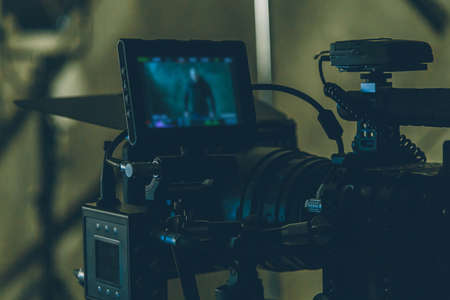 on-set movie camera close up in the studio